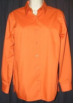 $19.99 + Free Shipping. Foxcroft Wrinkle Free Orange Button Front Cotton Blend Career Shirt Top 6