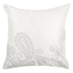 Surya Paisley Silver Decorative Pillow - Winter White