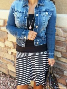 Everything about this outfit is cute. Jean jacket and swingy skirt.