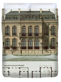 Parisian Suburban House And Plans Duvet Cover by Leon Isabey Social Housing Architecture, House Architecture Styles, Victorian Architecture, Architecture Design, Window Grill Design Modern, Suburban House, House In The Woods, Parisian, House Styles