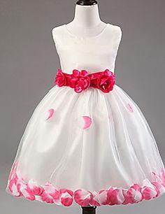 A-line Tea-length Flower Girl Dress - Cotton/Lace/Tulle/Poly... – USD $ 29.99