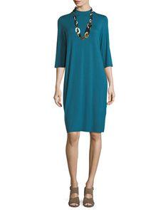 Lightweight Jersey Knee-Length Dress by Eileen Fisher at Neiman Marcus. Work Wardrobe, Eileen Fisher, Neiman Marcus, Cold Shoulder Dress, Sleeves, Outfits, Shopping, Tops, Dresses