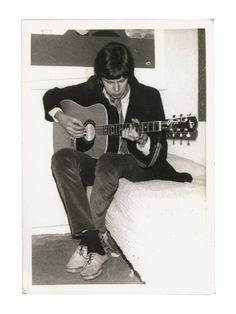 Nick Drake in France playing the Swedish-built Levin Guitar.
