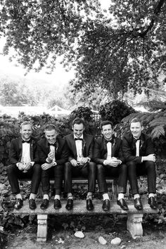 Stylish groom and groomsmen in classic white and black tuxedos. Image by Gavin Casey Black Tuxedos, Groom And Groomsmen, Classic White, Concept, Stylish, Blog, Wedding, Image, Mariage