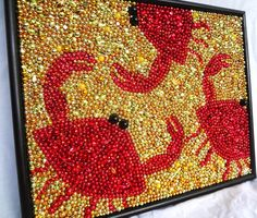 Framed Mardi Gras bead Seafood, Crabs mosaic, red, gold, 16 x 20, wall art, New Orleans, kitchen. $315.00, via Etsy.