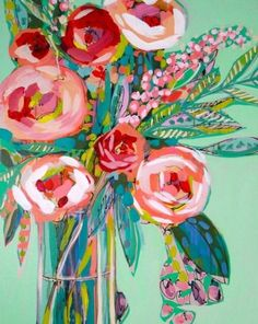 Mint and Pink Roses Abstract Floral Giclee Art Print, Made To Order, Impressionist Fine Art Print, Home Decor by Amanda Evanston - PaintinG Art Floral, Painting Glass Jars, Glass Vase, Abstract Flowers, Abstract Art, Vase Of Flowers Painting, Flower Painting Abstract, Flower Artwork, Abstract Landscape