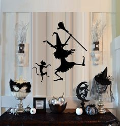 Dancin Witch and Cat  Wall or Window Decal by MakeYourWallsPop