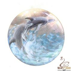 A-Crafted Painting Pendant Hand Painted Dolphin Ocean Shell Necklace ZL301292 #ZL #Pendant