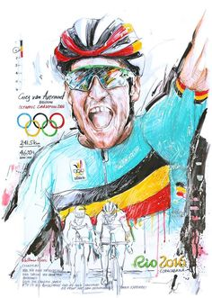 Greg van Avermaet wins Gold Olympic Road Race Rio 2016 by Horst Brozy Cycle Painting, Champion, Bike Tattoos, Bicycle Art, Cycling Art, Illustration Art, Illustrations, Retro Vintage, Poster