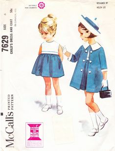 Coats Helen Lee High-Waisted Dress and Coat with Wide Collar for Girls and Toddlers - Vintage McCall's Sewing Pattern 7629 - Size 6 - Jewelry Of The Week - Easy Stretch Bracelets Childrens Sewing Patterns, Mccalls Sewing Patterns, Kids Patterns, Vintage Sewing Patterns, Clothing Patterns, Coat Patterns, Blouse Patterns, Vintage Outfits, Vintage Kids Clothes