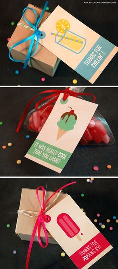 These adorable FREE summer favor tags come in a set of 3. The perfect way to add some charm to your party favors.