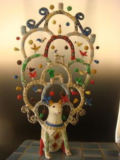 """Spectacular dog """"tree of life"""" - find more on Mexico at www.mainlymexican... #Mexican #Mexico #folkart #art #antique #collectible #vintage #HeronMartinez"""
