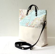 World Map Printed Cotton Fabric and Canvas Cross Body, Messenger, Tote, Handbag -  Beach, School, Diaper Bag, Book or Magazine Tote