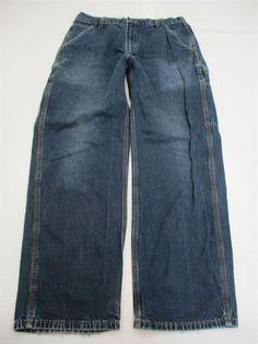 0139a029 CARHARTT Jeans Men's Size 33 x 30 100% Cotton Work Rugged Dark Wash  Carpenter #