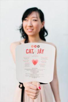 super fun fan wedding programs and helpful for a warm outdoor wedding