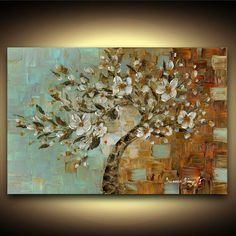 Modern White cherry blossom tree Fine Art Giclee PRINT on Canvas Abstract Landscape Tree Home Decor Large Wall Art Blue Brown Susanna