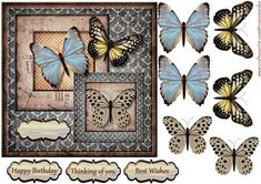 Vintage Butterflies Topper on Craftsuprint designed by Marijke Kok - Vintage butterflies topper, for any occasion. - Now available for download!