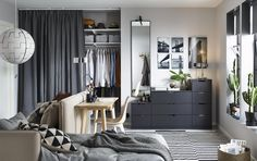 ikea bedroom chest of drawers bedroom furniture ideas anthracite chest of drawers against back wall in small living space ikea malm bedroom chest of drawers Ikea Small Spaces, Small Space Bedroom, Small Space Living, Small Rooms, Ikea Bedroom Furniture, Bedroom Decor, Furniture Ideas, Design Bedroom, Bedroom Ideas