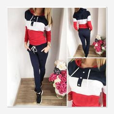 Aliexpress.com   Buy survetement fem2017 Autumn Winter Women Two pieces set  Suit Patchwork Tracksuit Female Warm Thicken Sweatshirt And Long Pant Set  from ... 0cbb37a5be1
