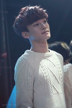 Chen from EXO - He's so cute with his innocent sweater. >.