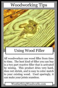 This woodworking tips card is about using wood filler. Every woodworker uses wood filler, and this is how you use the product. This tips card has an accompanying tutorial that shows you exactly how to use two part reactive wood filler, which is the absolu Used Woodworking Tools, Woodworking Joints, Woodworking Patterns, Woodworking Techniques, Easy Woodworking Projects, Popular Woodworking, Diy Wood Projects, Wood Crafts, Woodworking Plans