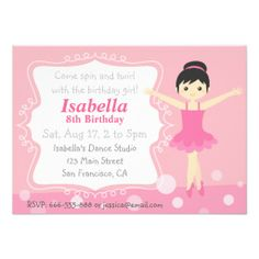 Cute Ballerina in Pink, Girl Birthday Party Personalized Invites