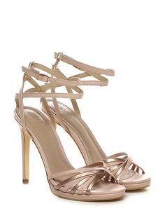 81d2b027222e2c Sandalo alto in pelle ed eco pelle laminata con cinturino alla caviglia ad  incrocio frontale e