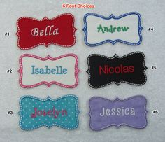 Personalized Name Patch Fabric Embroidered Iron On Applique Patch MADE TO ORDER by TheAppliquePatch on Etsy