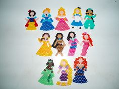 Disney Princess perler beads by Virginia Ng Pony Bead Crafts, Seed Bead Crafts, Disney Belle, Disney Girls, Pony Bead Animals, Beaded Animals, Melty Bead Patterns, Perler Patterns, Beaded Jewelry Patterns