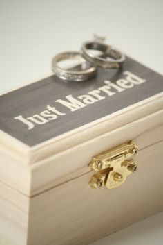 Mini Just Married Ring Bearer Box - Keepsake box - Wedding ring bearer pillow - Ring Box - Ring Bearer Box.  Find it at Little Wee Shop: https://www.etsy.com/shop/LittleWeeShop