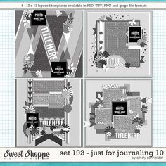 Cindy's Layered Templates - Set 192: Just for Journaling 10 by Cindy Schneider (PURCHASED)