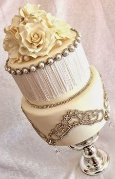 vintage Gold wedding cake www.tablescapesbydesign.com https://www.facebook.com/pages/Tablescapes-By-Design/129811416695