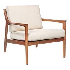 Butaca de estilo nórdico de gran limpieza de líneas. Está compuesto de una estructura a la vista de madera de fresno y dos almohadones para el asiento y el respaldo tapizados en lino natural y algodón. Funcional ante todo.
