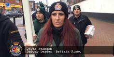 """So says Jayda Fransen """"the female face of Islamaphobia"""" in the UK. Woman Face, Human Rights, About Uk, Muslim, Britain, Flight 93, Captain Hat, Female Face, War"""