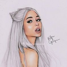 New drawn photo of Ariana Grande with long platinum blonde hair. New drawn photo of Ariana Grande Ariana Grande Anime, Ariana Grande Drawings, Ariana Grande Fans, Ariana Grande Wallpaper, Cartoon Drawings, Cute Drawings, Desenhos Halloween, Long Platinum Blonde, Adriana Grande