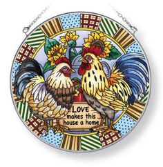 Rooster-Chickens-Suncatcher-LOVE-Makes-House-Home-AMIA-Hand-Painted-6-1-2-Round