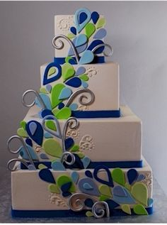 Modern Peacock Cake | Bride Ideas  Photo Credit: Pinterest - Cake by Cake Central