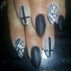 Stilletto nails. Fully sculptured acrylic. Stilletto dreams.  Funky. Matt black. Grey/nude. @repertoireshaw 01706849547 xxx