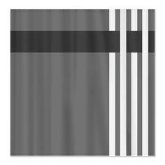 modern grey bathroom curtain with white stripes