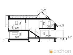gotowy projekt Dom w jaskierkach przekroj budynku Modern Family House, Bungalow Exterior, Pergola, Projects To Try, Floor Plans, Building, Snake, Design, Ideas