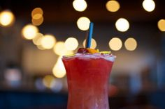Storm's 'Brewin: Fruitations Hurricane (in honor of Tales of the Cocktail & New Orleans!) // 2 oz light rum + 2 oz dark rum + ¾ oz Fruitations Tangerine + ¾ oz Fruitations Cranberry + 1 oz fresh orange juice + 1 oz fresh lime juice