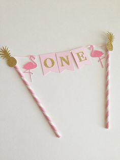 Let's Flamingle First Birthday Cake Topper by SweetEscapesbyDebbie