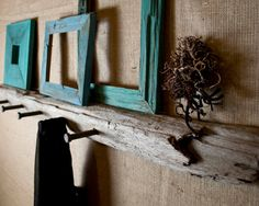 Driftwood Wall Hooks & Shelf with Upcycled Industrial Hardware