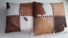 Cowhide Pillows Leather Calf Fur Western Pillowcase Cover Brown Rustic Decor #Unbranded #Farmhouse