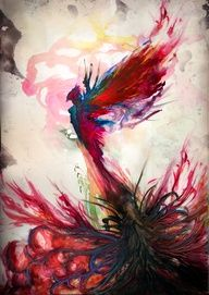 I want a phoenix tattoo down the road - this is a watercolor pic, but wouldnt it make a cool tat!  Mine probably wont be that big though!