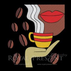 Machine Embroidery Design -  Coffee, $6.99