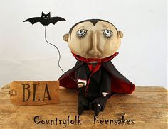 Primitive Folk Art Halloween Vampire by CountryfolkKeepsakes, $85.00