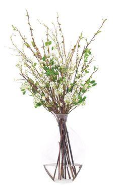 Natural Decorations, Inc. - Pear Branches WhIte Glass Odd Bubble $428 46 x 23