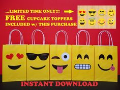 DIY Emoji Party Favor Bags/ Emojis Party Ideas/ Emoji Party Decoration. Simply: Print, Cut & Glue the Emoji Faces onto yellow colored Treat bags. Visit my Etsy Shop for more information . Printable Emojis Favor bags/ Emoticon loot/ candy/ goody/ goodie/ gift/ Treat/ bag/ bags/ box/ boxes/ supplies/ cake/ cupcake toppers/ balloons/ pinata/ shirt/ dress/ bottle labels/ stickers/ bolo/ pastel/ favors/ invite/ invitation/ banner/ emoji teen graduation party ideas/ graduation theme party.