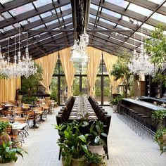 Isola Trattoria & Crudo Bar at Mondrian Soho: Isola's garden may be indoors, but the glass ceilings and walls let the light in—rain or shine. Lush plants and decadent chandeliers fill the restaurant, which serves regional Italian fare.